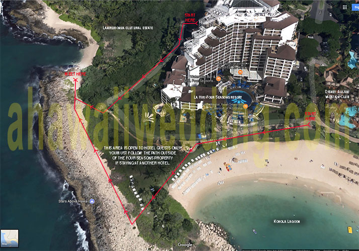 A Hawaii Wedding - Map - Ko Olina Public Beach Cove on